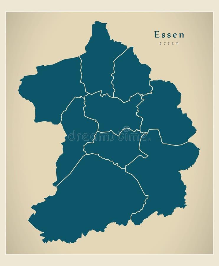 Carte moderne de ville - ville d'Essen de l'Allemagne avec les villes De illustration de vecteur