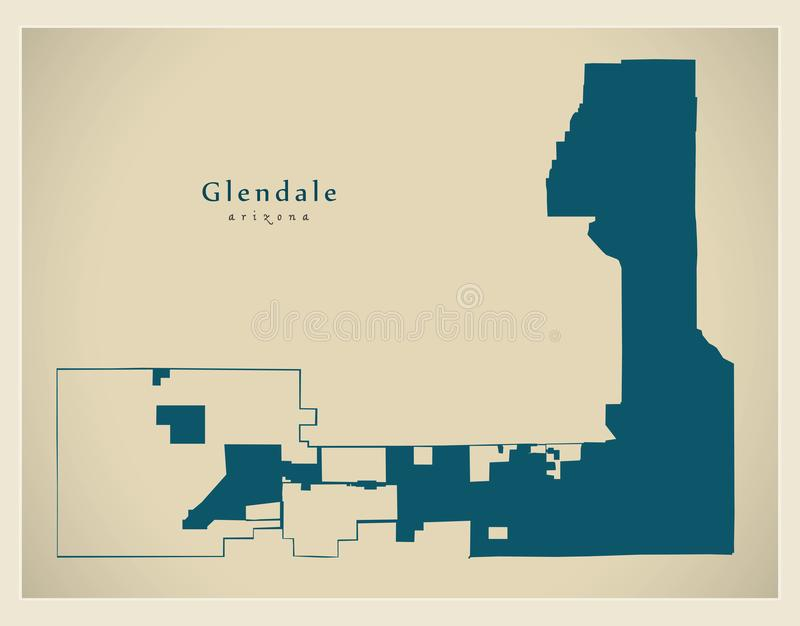 Carte moderne de ville - ville de Glendale Arizona des Etats-Unis illustration stock