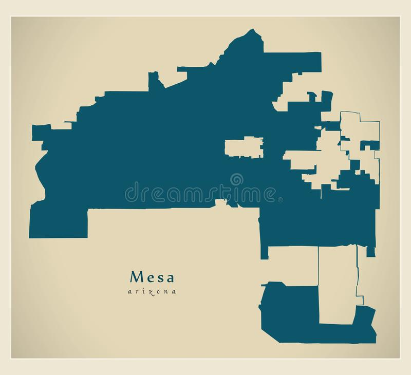 Carte moderne de ville - ville de Mesa Arizona des Etats-Unis illustration de vecteur
