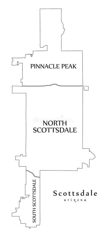 Carte moderne de ville - ville de Scottsdale Arizona des Etats-Unis avec la carte d'ensemble de voisinages et de titres illustration libre de droits