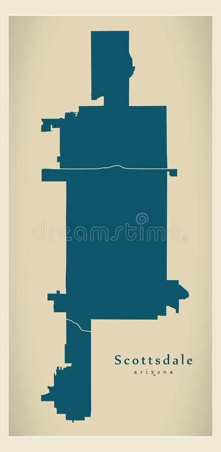 Carte moderne de ville - ville de Scottsdale Arizona des Etats-Unis avec des voisinages illustration de vecteur