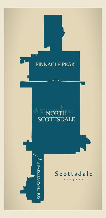 Carte moderne de ville - ville de Scottsdale Arizona des Etats-Unis avec des voisinages et des titres illustration libre de droits