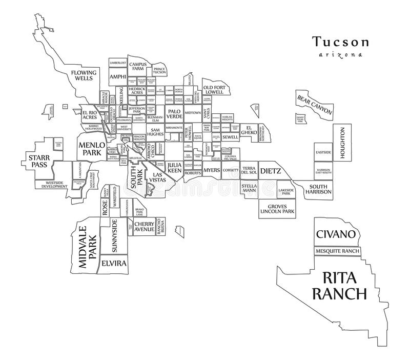 Carte moderne de ville - ville de Tucson Arizona des Etats-Unis avec le neighborho illustration de vecteur