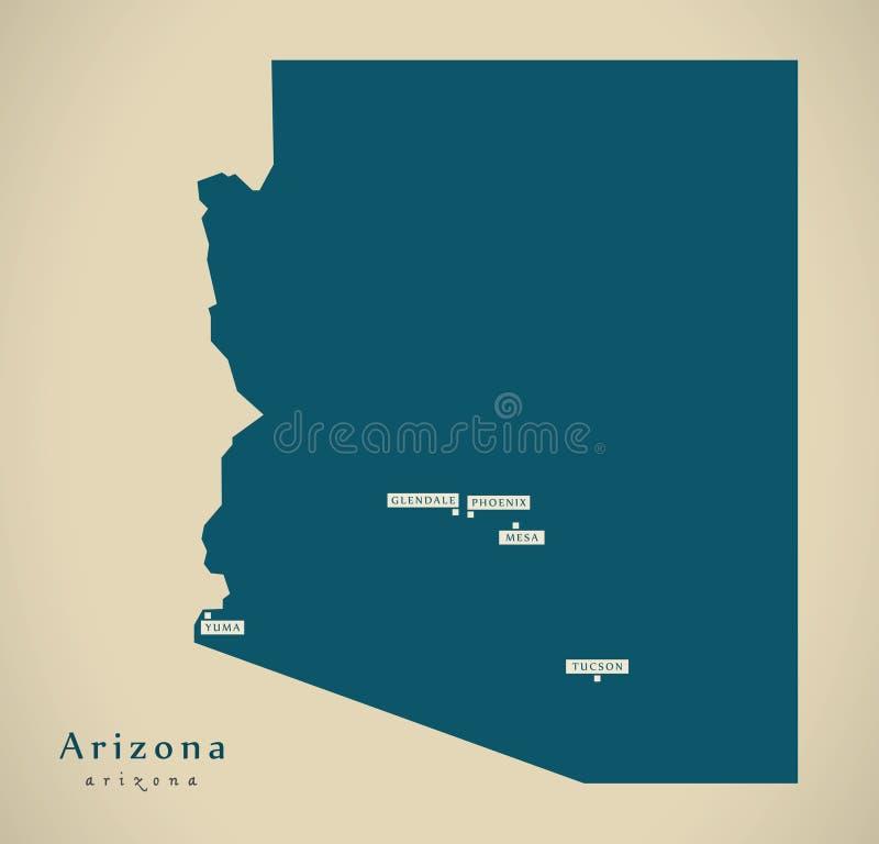 Carte moderne - illustration de l'Arizona Etats-Unis illustration stock