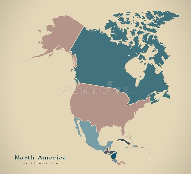 Carte moderne - la carte de l'Amérique du Nord avec des pays a coloré complet illustration de vecteur