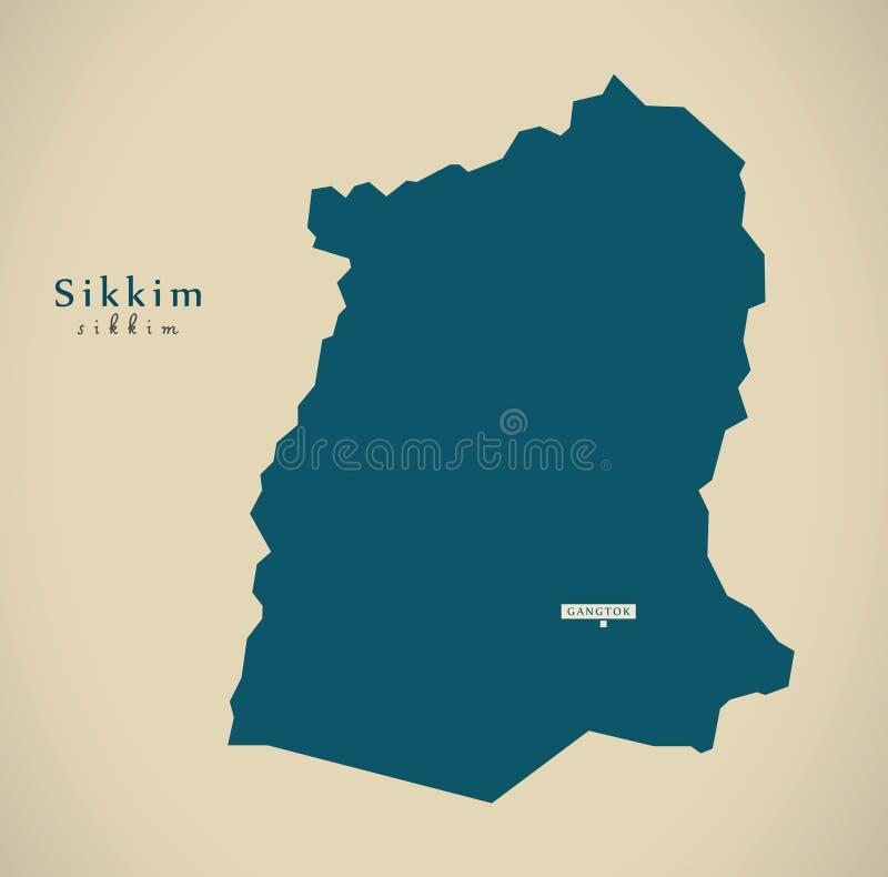 Carte Inde Sikkim.Carte Moderne Sikkim Dans L Illustration D Etat Federal D Inde
