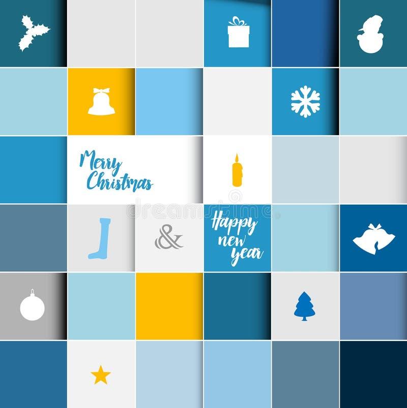 Carte moderne simple de mosaïque de Noël de vecteur illustration de vecteur