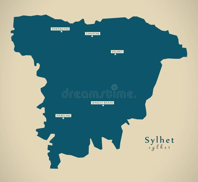 Carte moderne - Sylhet BD illustration libre de droits