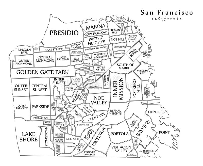 Carte moderne - ville de San Francisco des Etats-Unis illustration stock