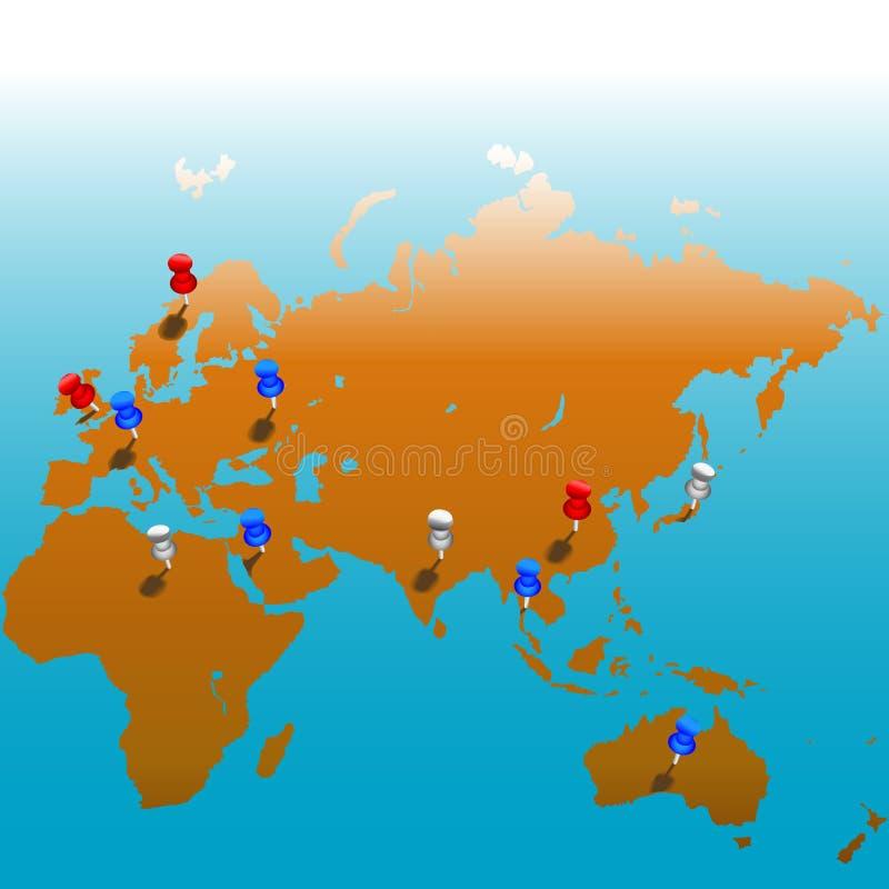 Carte mondiale de Tacks_Eurasias illustration libre de droits