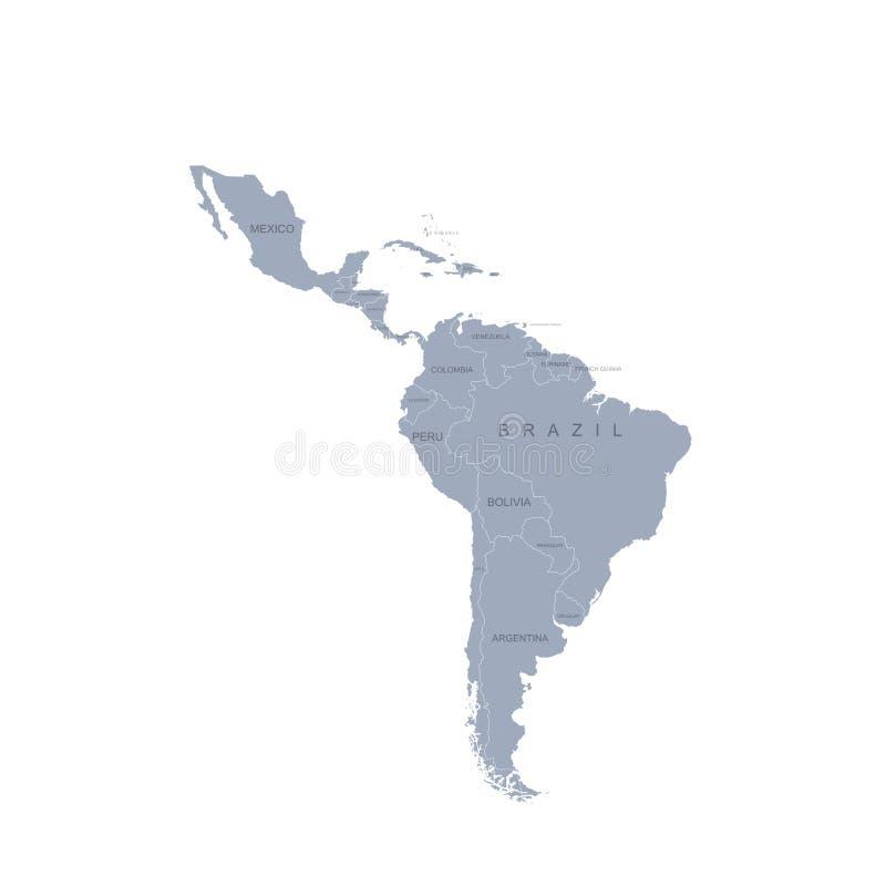 Carte mondiale carte graphique vectorielle de l' amérique latine illustration libre de droits