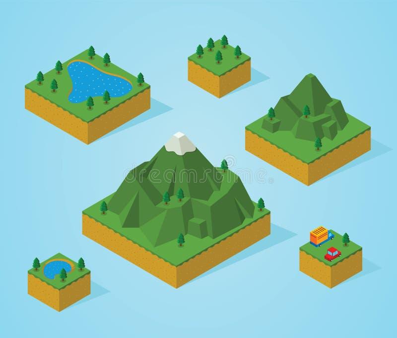 Carte-montagne isométrique de préassemblage image libre de droits