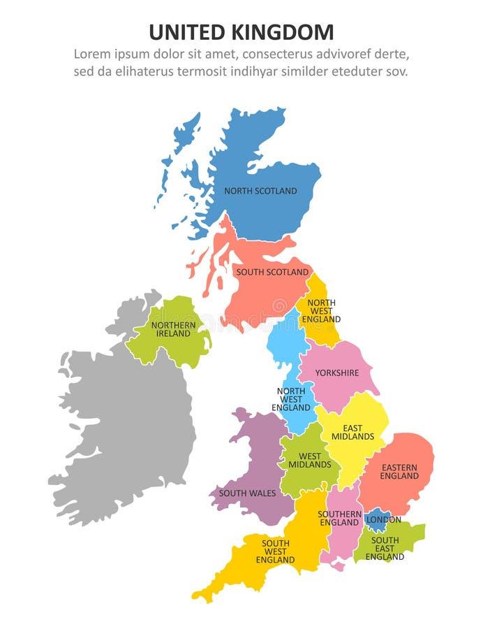 Carte multicolore BRITANNIQUE avec des r?gions Illustration de vecteur illustration stock