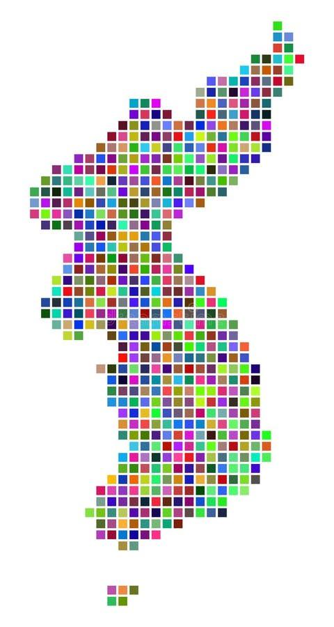 Carte multicolore de Dot North And South Korea illustration libre de droits