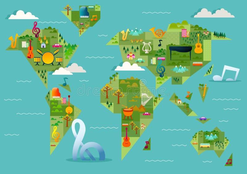 Carte musicale géométrique du monde illustration stock