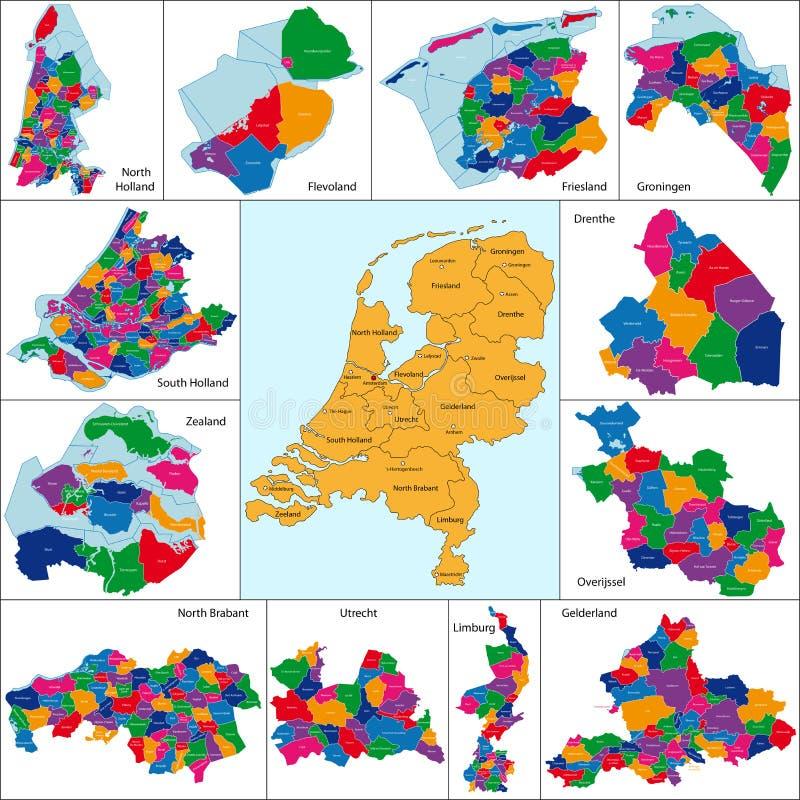 Carte néerlandaise illustration de vecteur