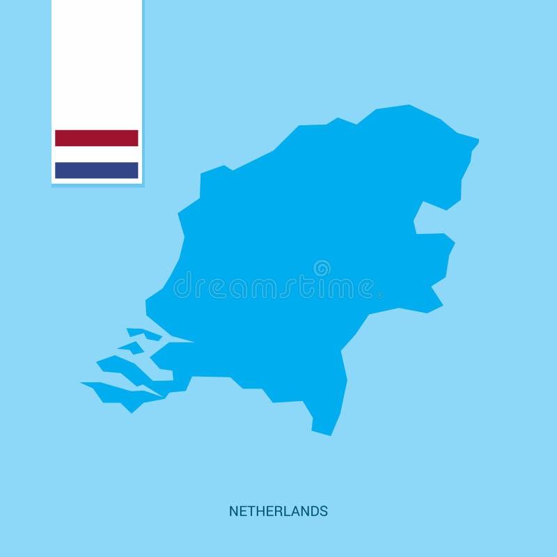 Carte néerlandaise de pays avec le drapeau au-dessus du fond bleu illustration stock