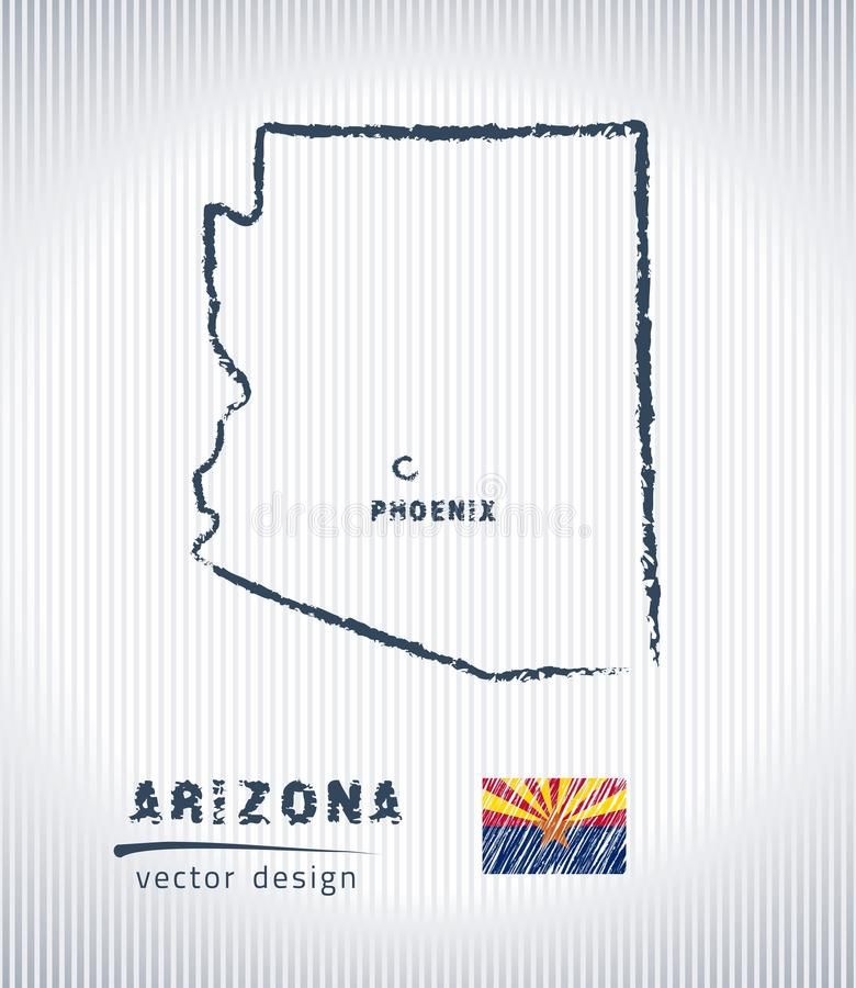 Carte nationale de dessin de vecteur de l'Arizona sur le fond blanc illustration stock