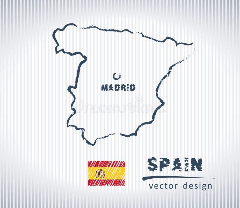 Carte nationale de dessin de vecteur de l'Espagne sur le fond blanc illustration libre de droits