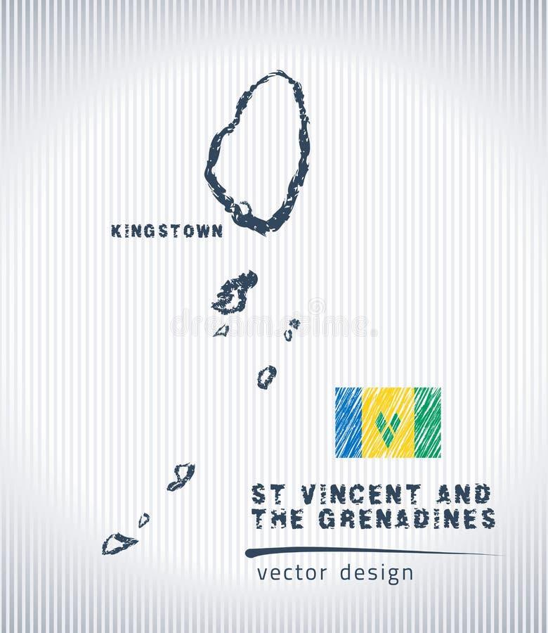 Carte nationale de dessin de vecteur de Saint-Vincent-et-les-Grenadines sur le fond blanc illustration libre de droits