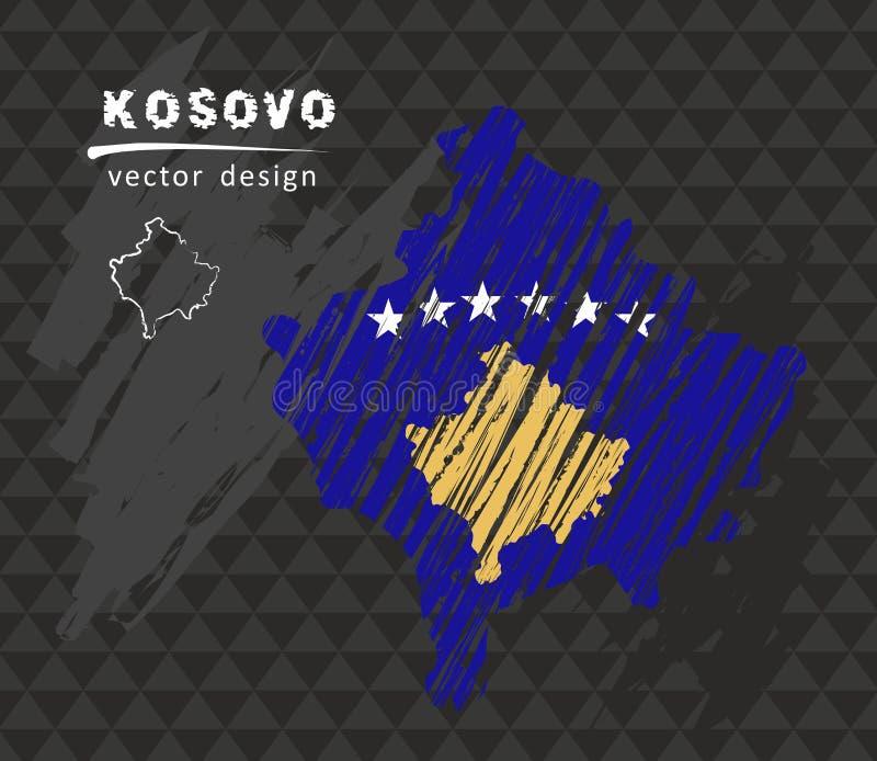 Carte nationale de vecteur de Kosovo avec le drapeau de craie de croquis Illustration tirée par la main de craie de croquis illustration de vecteur