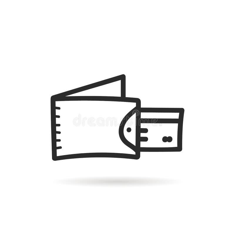Carte noire de portefeuille et de plastique de griffonnage illustration stock