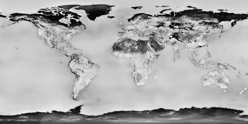 Carte noire et blanche du monde photo libre de droits
