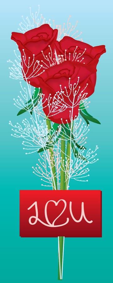 Carte nominative de Rose je t'aime illustration de vecteur