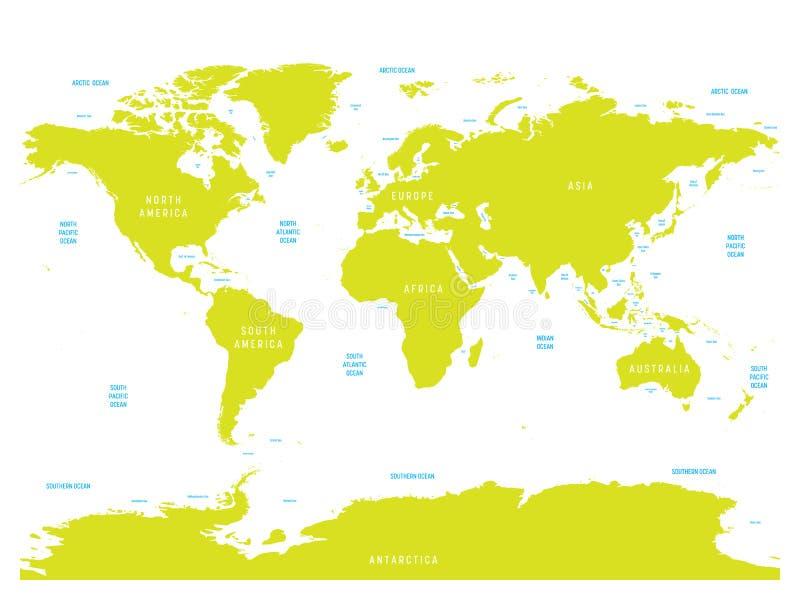 Carte océanographique de monde avec des labels des océans, des mers, des golfes, des baies et des détroits Carte de vecteur avec  illustration stock