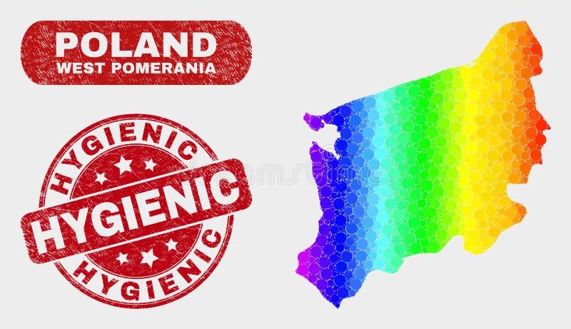 Carte occidentale colorée de la Voïvodie de Poméranie de mosaïque et joint hygiénique grunge de timbre illustration libre de droits