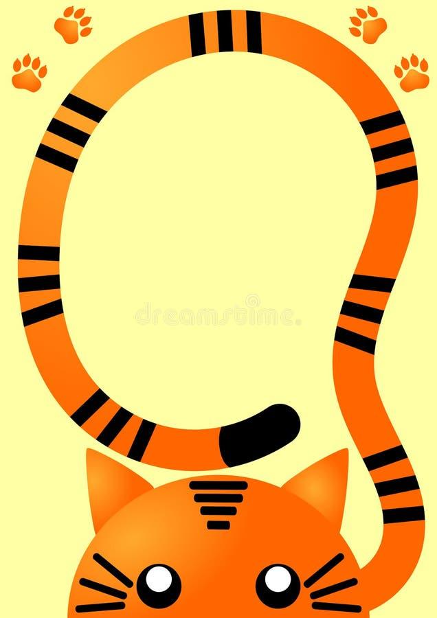 Carte orange d'invitation de tigre illustration libre de droits