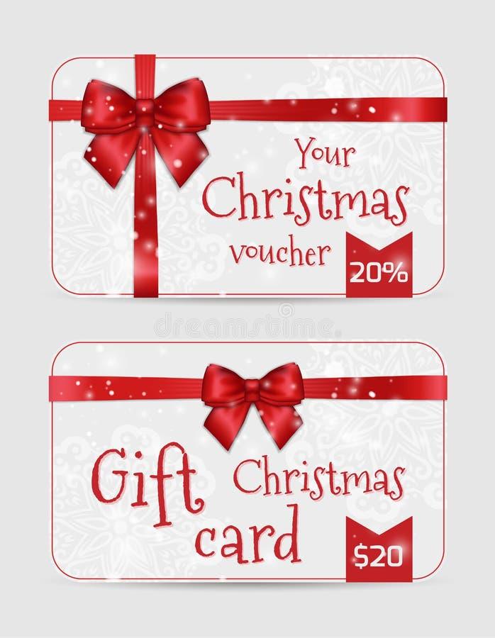 Carte ornamentali di Natale con il nastro rosso del raso di festa brillante Modello del nuovo anno per i saluti, inviti, buoni, c illustrazione di stock