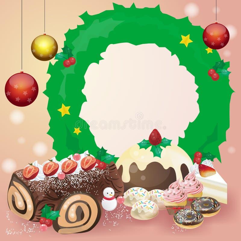 Carte ou bloc-notes de dessert de Noël illustration stock