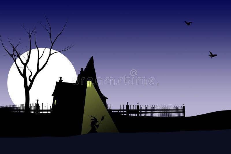 Carte ou fond de sorcière de Veille de la toussaint illustration stock