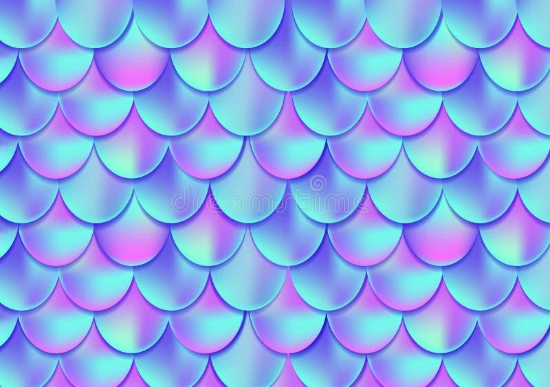 Carte ou fond olographe de queue de sirène Merma de Mesh Gradient illustration libre de droits