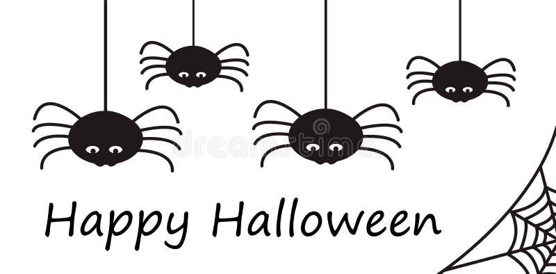 Carte ou frontière heureuse de Halloween avec le hangi noir stylisé d'araignées illustration stock