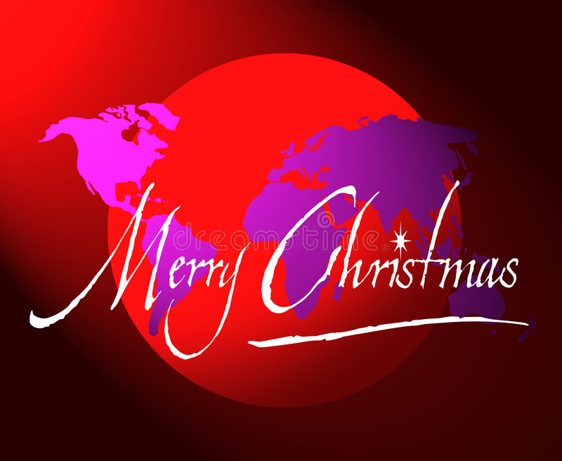 Carte ou globe du monde de Joyeux Noël illustration stock