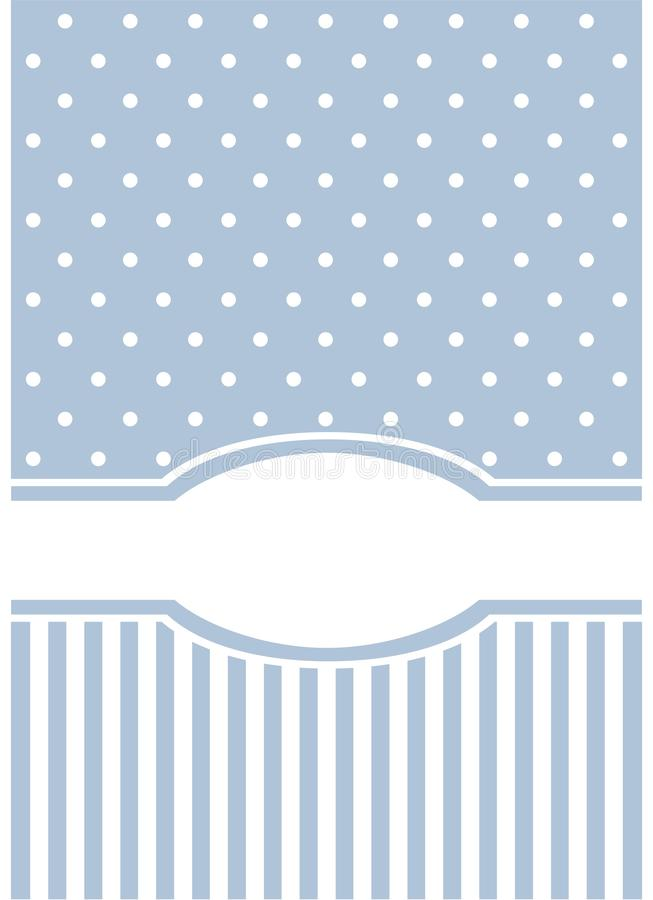 Carte ou invitation bleue avec des bandes et des points de polka blancs. illustration libre de droits