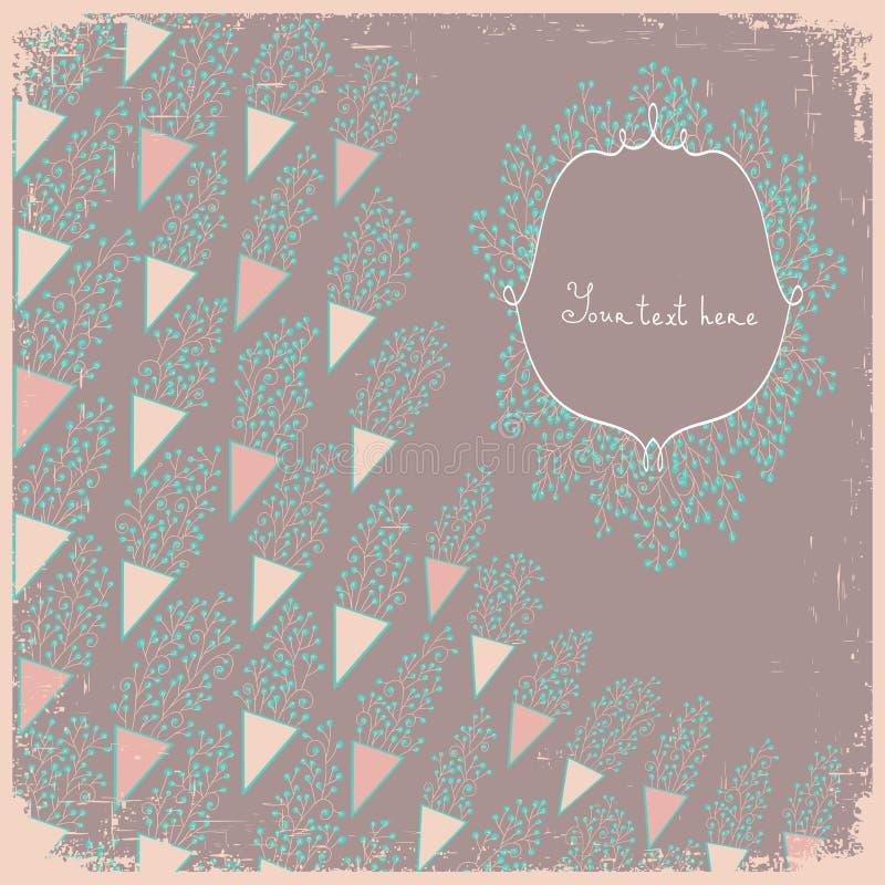 Carte ou invitation de mariage avec de petites fleurs abstraites illustration de vecteur