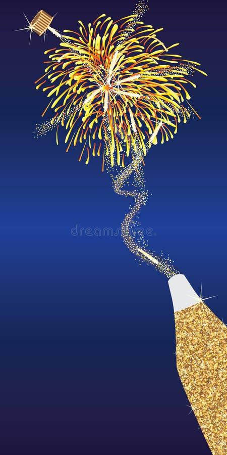 Carte ouverte de feu d'artifice de bouteille d'or de scintillement illustration libre de droits