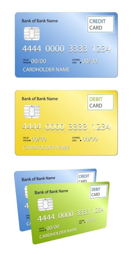 Carte par la carte de crédit et de débit illustration stock