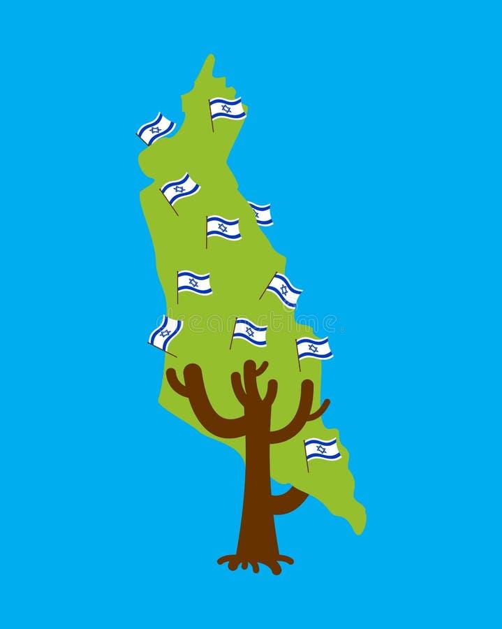 Carte patriotique de l'Israël d'arbre Indicateur israélien illustration stock