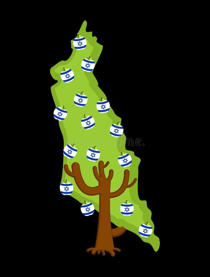 Carte patriotique de l'Israël d'arbre pommier et drapeau d'Israélien de pommes n illustration de vecteur