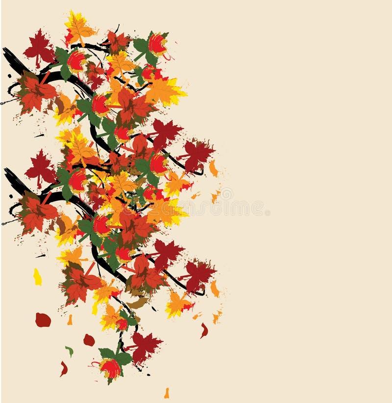 Carte peinte par automne illustration de vecteur