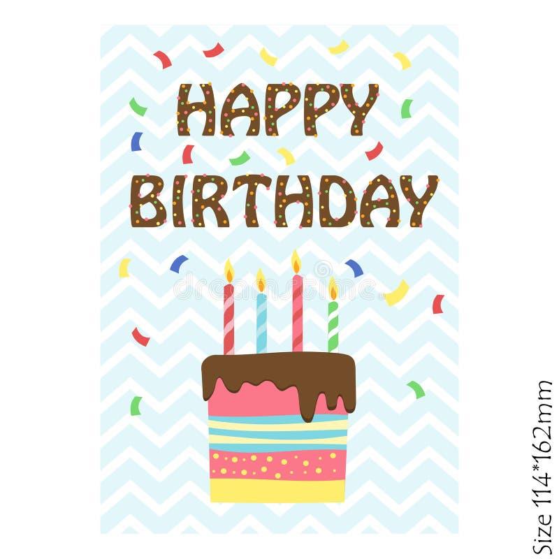 Carte per il buon compleanno dei bambini Torta di compleanno con le candele illustrazione vettoriale