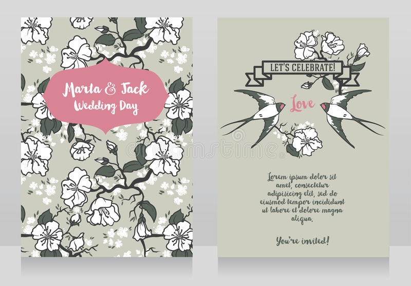 Carte per nozze con i rami di albero e le coppie di fioritura dei sorsi illustrazione di stock