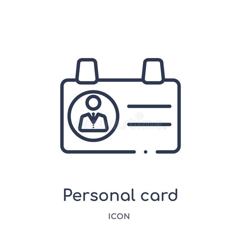 Carte personnelle linéaire d'icône de données de contact de collection d'ensemble d'affaires La ligne mince carte personnelle de  illustration stock