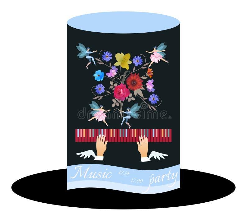 Carte peu commune d'invitation pour la partie de musique Cylindre de chapeau noir avec le ruban bleu, bouquet des fleurs de jardi illustration de vecteur