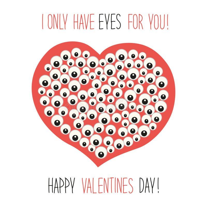 Carte peu commune mignonne de jour du ` s de Valentine avec le personnage de dessin animé drôle du coeur avec beaucoup de yeux et illustration stock