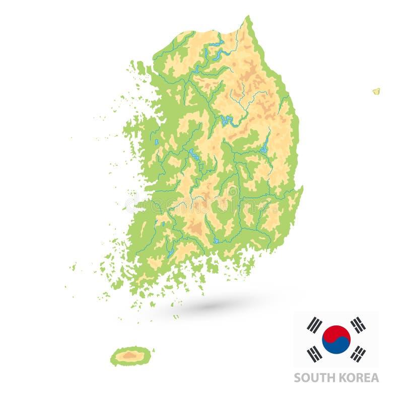 Carte physique de la Corée du Sud d'isolement sur le blanc AUCUN texte illustration stock